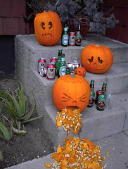 Drunk Pumpkin (twm1340) Tags: food silly art halloween beer drunk heineken pumpkin carved funny comic tecate