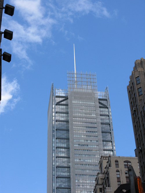 antenna on a midtown skyscraper, Manhattan, NYC