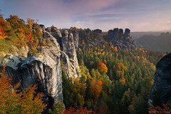 Autumn In Saxony (Dietrich Bojko Photographie) Tags: mountain nature germany landscape deutschland nationalpark saxony nikond50 12mm bastei schsischeschweiz cokinp121 tokina1224124dx dietrichbojko theperfectphotographer alemdagqualityonlyclub globalindex vosplusbellesphotos polazizerbw