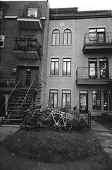 (Holga-Jen) Tags: street autumn homes blackandwhite bw film bike stairs apartments quebec kodak plateau montreal toycamera lawn vivitar bw400cn ultrawideslim vuws