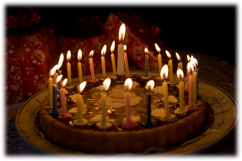 birthday cake with candles :)