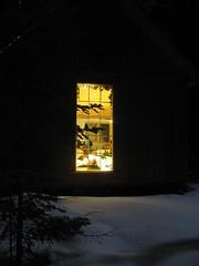 1:00 AM Five Below (DIsnowshoe) Tags: winter moon snow cold window island cozy cabin warm peaceful full drummond drummondisland