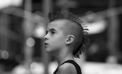 Kid from Times Square (maciej.ka) Tags: portrait blackandwhite bw white black hair kid punk child maciej maciek kielan fotocompetition fotocompetitionbronze polandphotography emkej maciekk