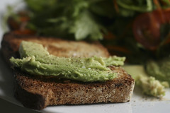 Toasted Chive Bread with Avocado, Salt and Pepper