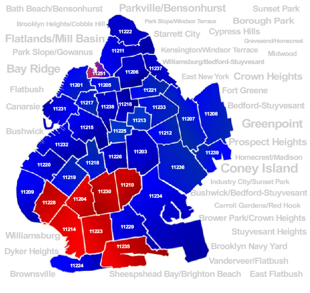 brooklyn zip codes red and blue