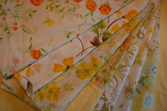 Yellow Vintage Sheets (karly b) Tags: yellow vintage bed quilt sheets fabric