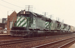 Westbound Burlington Northern freight train. La Grange Illinois. Febuary 1985.
