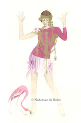 Nora dancing with Flamingo (noblesse de robe) Tags: color watercolor painting gold robe kunst aquarelle indian flamingo magenta peinture jewellery farbe mapuche noblesse aquarell knstler malerei knstlerin