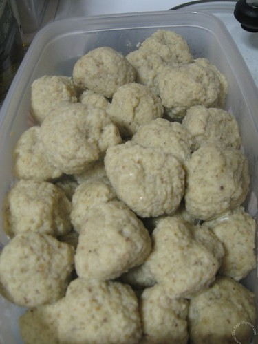 Completed batch of matzo balls