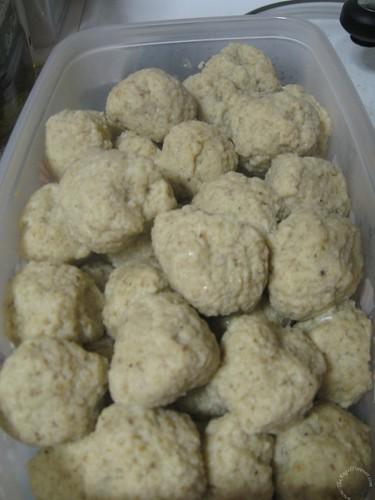Completed batch of matzo balls