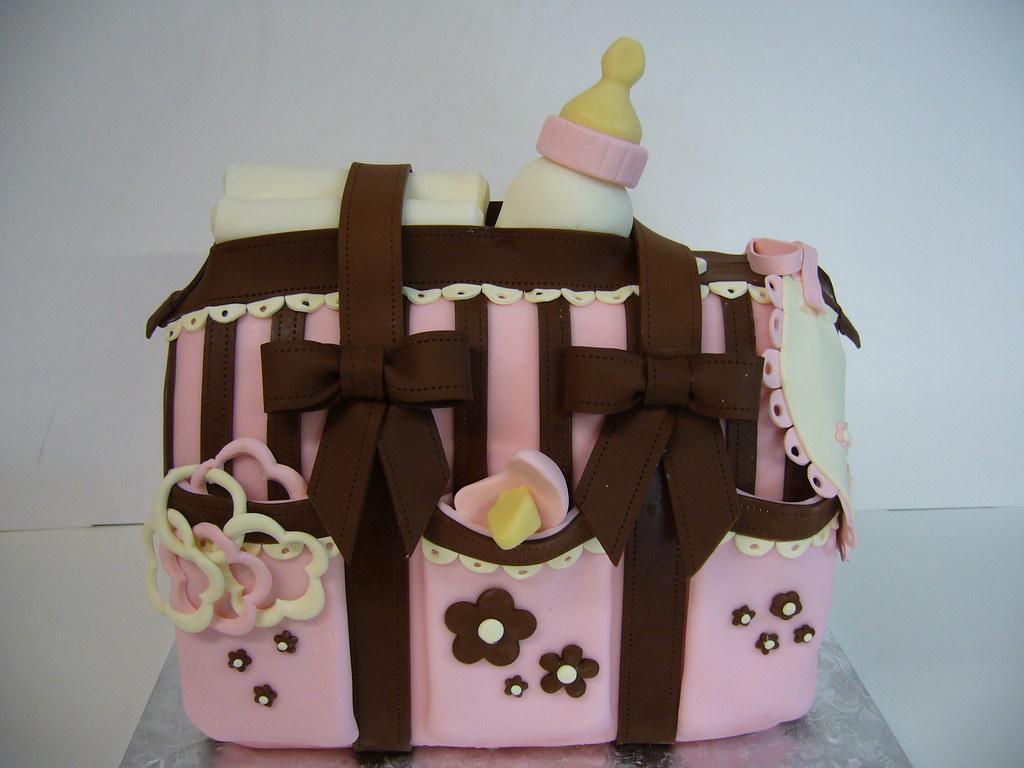 Baby girl diaper bag cake