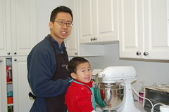 Owen and daddy making holiday cookies