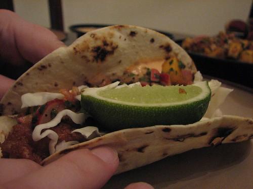fish taco assembled