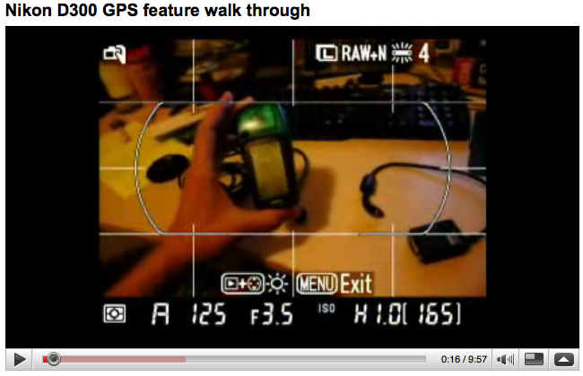 YouTube -- Nikon D300 GPS feature walk through