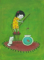 Gone Fishing... (Knottwood) Tags: original silly painting funny acrylic bright humourous