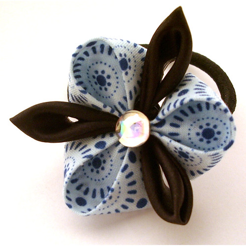 Blue and brown kanzashi orchid
