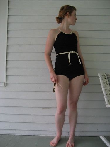 Girl wearing 1930s style bathing suit