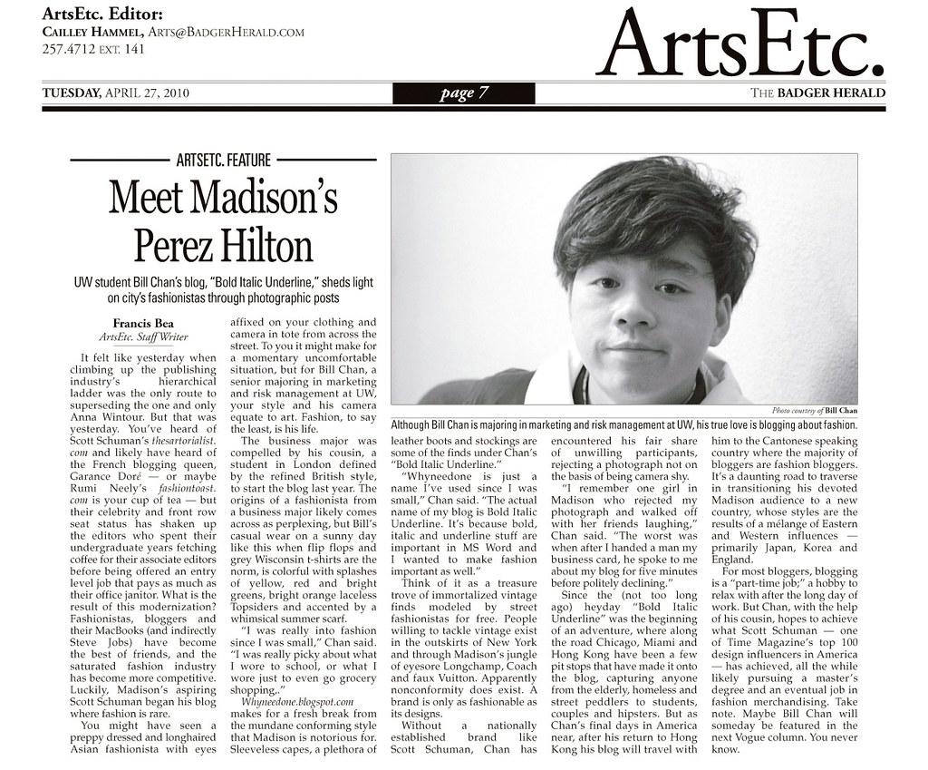 Badger Herald Newspaper Interview