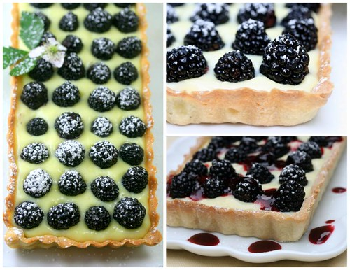 Crostata di crema e frutti di bosco (blackberry and strawberry pastry-cream tart)