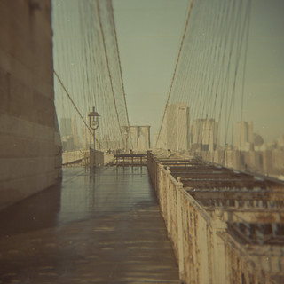 Brooklyn bridge, looking back to Manhattan