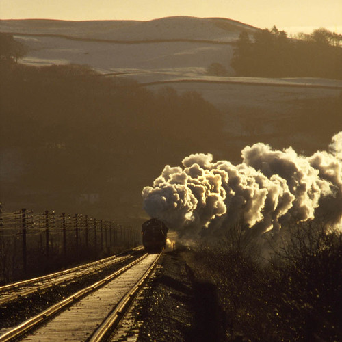 5305 and 4767 Giggleswick (geoffspages) Tags: trees winter snow geotagged smoke yorkshire railway steam fields moors uksteam black5s geo:lat=54061384 geo:lon=2302403