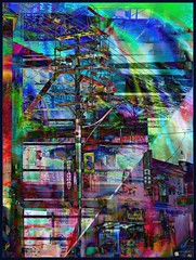 Hydro Octane (Tim Noonan) Tags: street sky abstract art collage digital photoshop buildings effects rainbow dusk manipulation wires billboards poles mosca treatment firstquality artlibre proudshopper wildlytalentedartistry awardtree daarklands