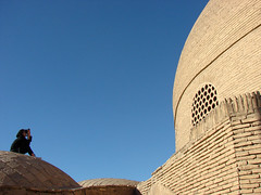 The lord of the roofs (Alieh) Tags: blue roof architecture persian iran persia mosque iranian  esfahan isfahan   ontheroof    aliehs alieh        saadatpour rahimkhanmosque