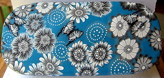 Black White and Blue Covered Tin (cvstearns) Tags: flowers butterfly carolyn tin clay canes stearns polymer milliefiori