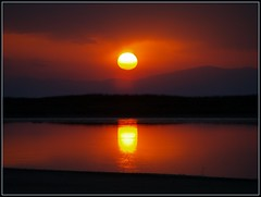double sun (maios) Tags: travel light sunset red sky sun mountain color reflection water river greek photo europa europe flickr photographer hellas double greece macedonia thessaloniki fotografia salonica manikis maios iosif  potamos heliography    epanomi   anawesomeshot  ysplix          iosifmanikis