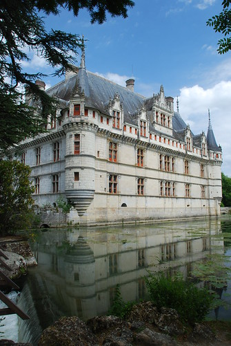 Chateau d'Azay-le-Rideau reflected in the moat