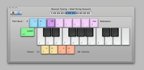 GarageBand Musical Typing