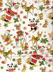 vintage christmas paper (lorryx3) Tags: santa snow ski bunny snowman panda doe deer fawn santaclaus merry vintagechristmaspaper vintagechristmaswrapping