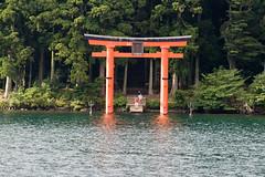 Torii in Lake Ashi (IzuenGordelekua) Tags: japan shrine cc creativecommons nippon shinto hakone torii nihon santuario japn japonia santutegia lakeashi shint byncsa sintoismo tor lagoashi ashilakua