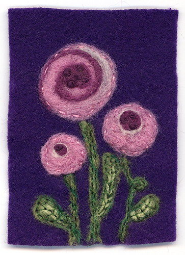 Flowers : Felted ATC