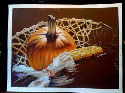 In progress scan of colored pencil drawing entitled Autumn Still Life