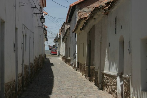 Narrow street in Sucre, Bolivia.