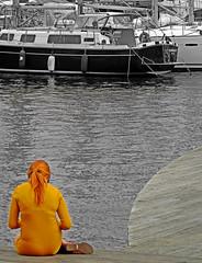 """The Woman In Yellow (Jordi Meneses S.) Tags: yellow port cutout """"solofotos"""" jordimenesess jordimeneses"""