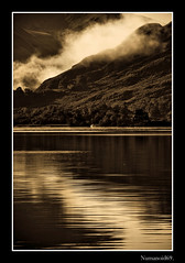Ullswater. (numanoid69) Tags: uk england mist lake mountains reflection water sepia nationalpark lakedistrict cumbria fells ullswater prideofengland flickersmasterpieces