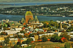 The autumn in Quebec city (Nino H) Tags: old city autumn canada fall skyline river hotel quebec qubec stlawrence stlaurent chateau hdr vieuxqubec fleuve frontenac htel mywinners gettyimagescanada