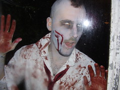 There's something outside... (the_dan) Tags: halloween mike grey blood zombie attack makeup gore kelly undead mohican sallow