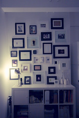 all in a day's work (*raffaella) Tags: light frames bedroom photos vote photowall bedsidelamp condomaximus helpchangearynsmind paintthemwhite
