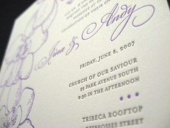 Jina Dots Letterpress Wedding Invitations - Invite Close Up
