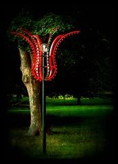 Strange Tree (Kirsten M Lentoft) Tags: light red tree green lamp denmark textured dyrehaven bakken dyrehavsbakken betterthangood texturebyninianlif texturebyghostbones kirstenmlentoft