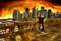 Best Place in the World to Be Together  . . .(or alone) . . . . (daystar297) Tags: nyc newyorkcity bridge friends sunset love skyline brooklyn clouds golden hug kiss couple warm manhattan candid pg lovers brooklynbridge romantic feeling emotions hdr lowermanhattan candidportrait photomatrix myfirsthdr platinumphoto aplusphoto hdrfromsingleexposure