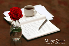(Missy | Qatar) Tags: red cup coffee rose pen book tea papers missy qatar hawaalrayyanfav