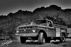 F-350 , 1966 (B&W , HDR) (Salamah.y) Tags: old red classic ford car hail truck 1966 350 f 600 saudi arabia 1967 dodge 100 gmc 250  1965  ksa