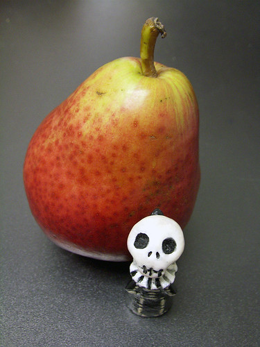 Skelly has a comice pear with lunch