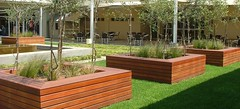 Wooden decking seating areas (Badec Bros Deco) Tags: b outdoor planters landscaping mosaic contemporary steel indoor powder pots benches decor deco bros coated gabions pergolas a badec cubedec cubench