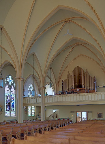 Saint George Roman Catholic Church, in New Baden, Illinois, USA - back of nave