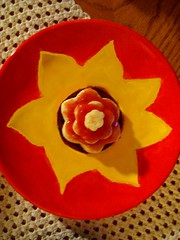 (<3 jad) Tags: colors table strawberry cookie bright painted crochet plate homemade sunflower tablecloth teacup christmascookie woodtable